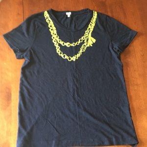 J. Crew navy and neon necklace tee sz XL
